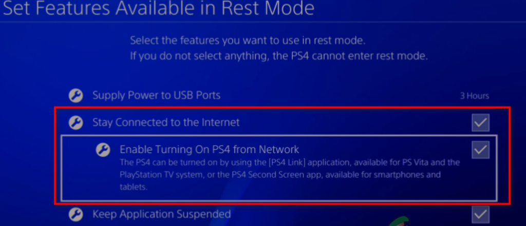 Enable turning on Ps4 from the Network
