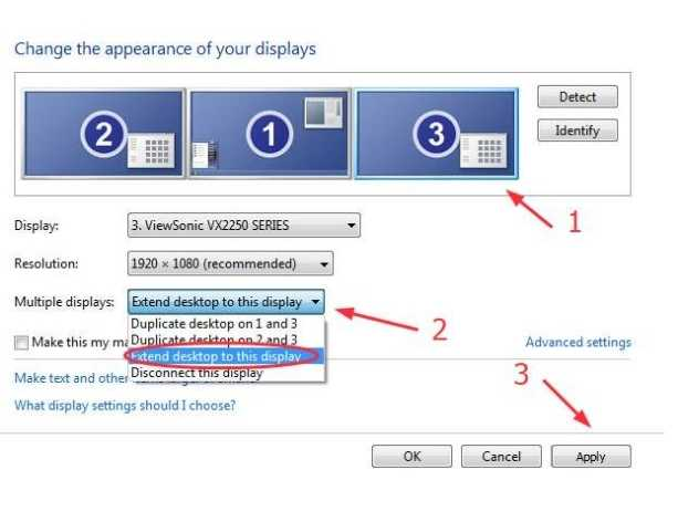 extending the desktop to this display in the multiple display option, click on then apply.