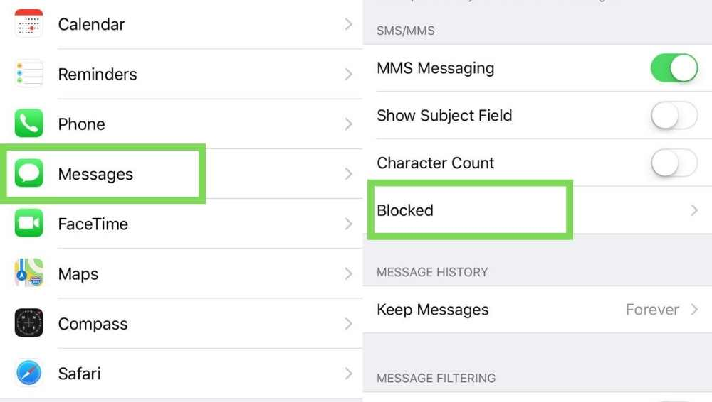 Unblock People from Text Messages